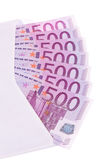 Envelope with notes. Envelope with many bills, European money Euro Royalty Free Stock Image