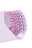 Envelope with notes. Envelope with many euro bills Stock Photography