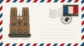 Envelope with Notre Dame de Paris Stock Image