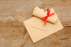 Envelope old paper roll Royalty Free Stock Image