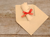 Envelope old paper roll Royalty Free Stock Photos
