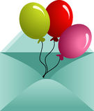 Envelope opened with balloons Royalty Free Stock Photography