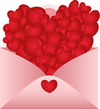 Envelope opened with love hearts Royalty Free Stock Photography