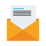Envelope opened with sheet with text Royalty Free Stock Photos