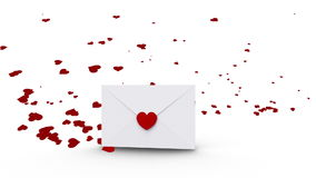Envelope opening to reveal copy space with love hearts. Digital animation of Envelope opening to reveal copy space with love hearts stock footage