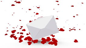 Envelope opening to reveal valentines message with love hearts