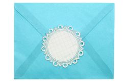 Envelope with Ornate Label Stock Image