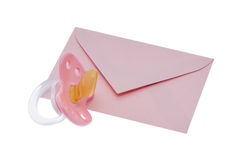 Envelope with pacifier and clipping path Royalty Free Stock Photos