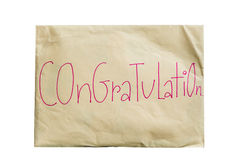 Envelope paper with the word congratulation Stock Photo