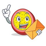 With envelope passion fruit character cartoon. Vector illustration Stock Photos