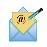 Envelope with a pencil and at sign logo Royalty Free Stock Images