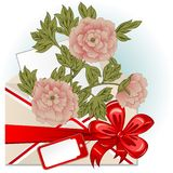 Envelope With Peonies. Vector of envelope with peonies, big red bow and greeting card vector illustration