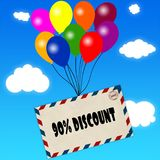 Envelope with 90 PERCENT DISCOUNT message attached to multicoloured balloons on blue sky and clouds background. Illustration Stock Photos