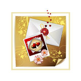 Envelope and photo. With hearts over decorated gold paper stock illustration