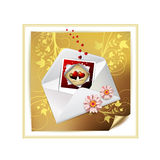 Envelope and photo. With hearts over decorated gold paper royalty free illustration