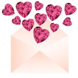 Envelope with pink gemstone hearts. Stock Images