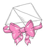 Envelope with pink ribbon and bow. Greeting card. Cartoon envelope greeting  illustration  Doodle art Royalty Free Stock Images