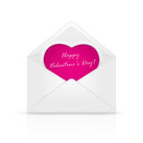 Envelope with pink Valentines heart Royalty Free Stock Image