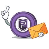 With envelope Pivx coin character cartoon. Vector illustration Stock Images
