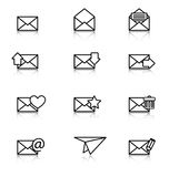 Envelope, plane, icons for e-mail Stock Photography