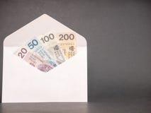 Envelope polonês do dinheiro fotografia de stock royalty free