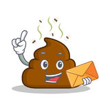 With envelope Poop emoticon character cartoon. Vector illustration royalty free illustration