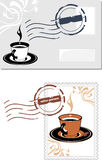Envelope and post stamp with coffee cup Royalty Free Stock Image