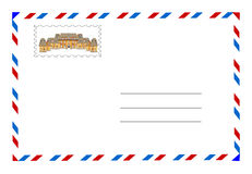 Envelope and postage stamp  Stock Images