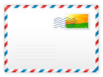 Envelope and postage stamp Stock Photos