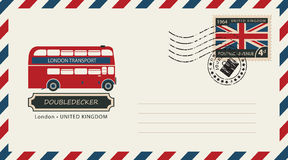 Envelope with postage stamp with doubledecker. An envelope with a postage stamp with London doubledecker, and the flag of United Kingdom vector illustration