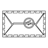 Envelope with postage stamp icon, outline style Royalty Free Stock Photography