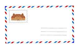 Envelope and postage stamp  illustration Stock Images