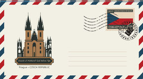 An envelope with postage stamp with Prague church. An envelope with a postage stamp with Prague church of Mother of God before tyn, and the flag of Czech vector illustration