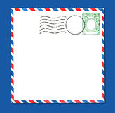 Envelope With Postal Stamp and Stripes. Old Airmail Parcel Type Envelope With Postal Stamp and Stripes Distressed and Grungy Stock Image