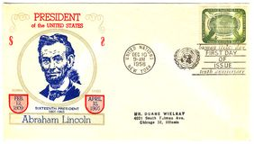 Envelope with president of The USA Abraham Lincoln Stock Image