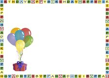 Envelope print. Ballons and gift as a birthday card - possible use is envelope printing; has white space to add text vector illustration