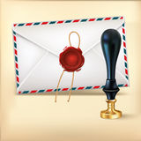 Envelope and Rad wax with Wax seal stamp. Stock Images
