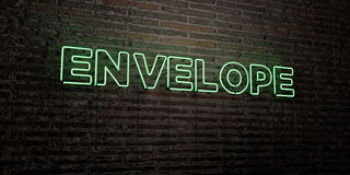 ENVELOPE -Realistic Neon Sign on Brick Wall background - 3D rendered royalty free stock image Stock Photography
