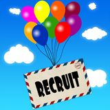 Envelope with RECRUIT message attached to multicoloured balloons on blue sky and clouds background. Illustration Royalty Free Stock Photo