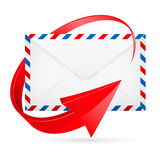 Envelope with red arrow around Royalty Free Stock Image
