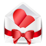 Envelope with red bow and heart. Valentine.  on white background Stock Images