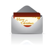 Envelope and red card merry christmas Royalty Free Stock Photo