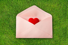 Envelope with red heart Stock Photos