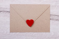 Envelope with red heart. Royalty Free Stock Photo