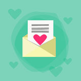 Envelope Red Heart Mail Flat Vector Royalty Free Stock Photography