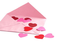 Envelope with red hearts Stock Images