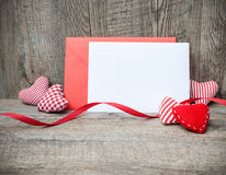 Envelope with red hearts Royalty Free Stock Photography