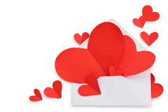 Envelope and red paper hearts. Stock Image