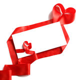 Envelope with red ribbon. Greeting card with love symbol red ribbon in the shape of a heart and envelope with corner on white background royalty free stock images