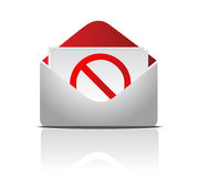 Envelope and red STOP sign Stock Photography